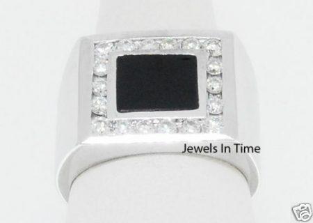 Gents Diamond & Onyx 14K White Gold Ring 6.75