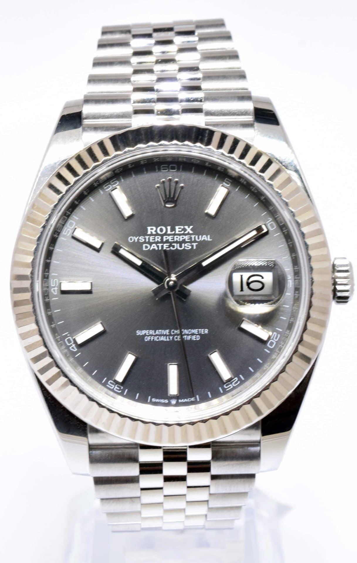 Rolex Datejust 41 Steel & 18k White Gold Rhodium Dial Watch & Box 126334