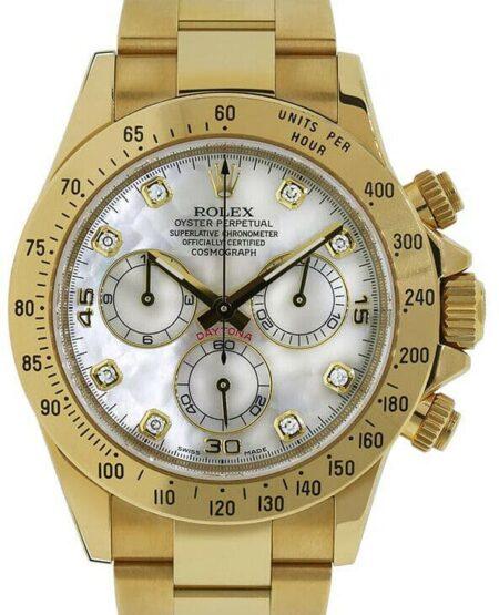 Rolex Daytona 18k Yellow Gold Chronograph MOP Diamond Dial Watch +Box 116528
