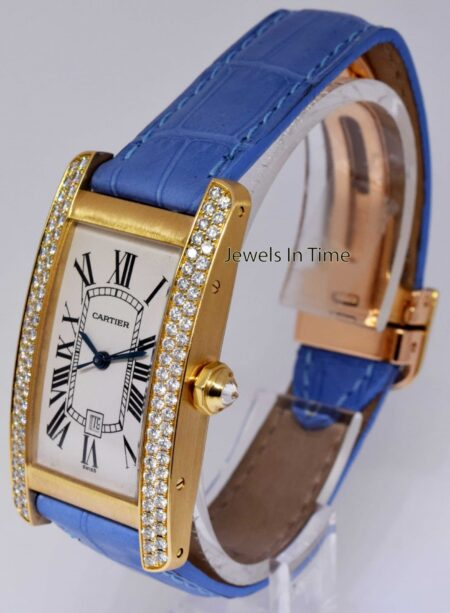 Cartier Tank Americaine 18K Yellow Gold & Diamond Automatic Watch 2483