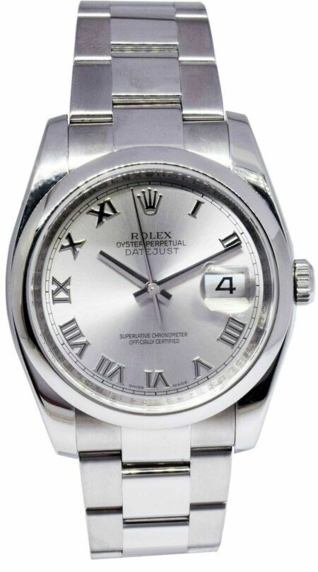 Rolex Datejust Steel Silver Roman Dial Date Mens 36mm Watch Box/Papers116200 Z