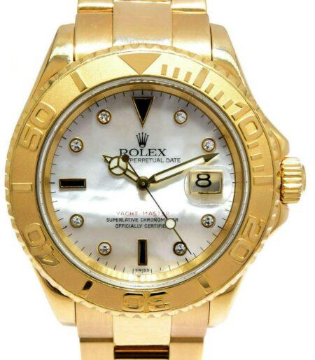 Rolex Yacht-Master 18k YG MOP Diamond Dial Mens 40mm Watch Box A16628