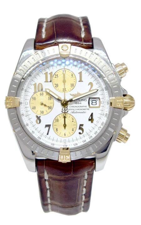 Breitling Chronomat Chronograph Steel/18K YG White Dial Mens 44mm B/P B13356