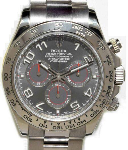Rolex Daytona Chronograph 18k White Gold Gray Dial Watch & Box D 116509