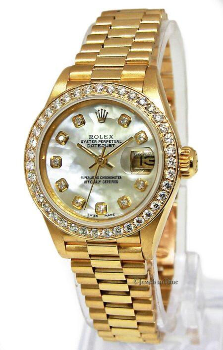 Rolex Datejust 18k Yellow Gold MOP Diamond Automatic Ladies Watch L 69178